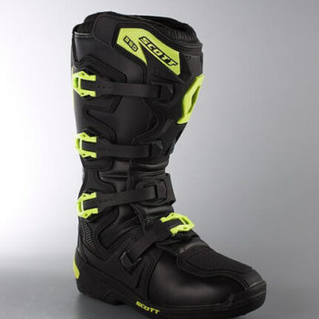 Scott 350 Motocross MX Black Green Boots