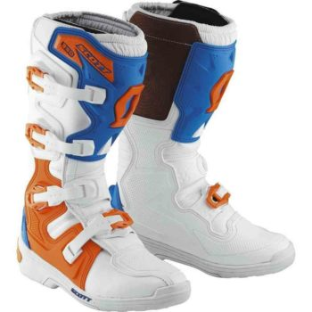 Scott 350 Motocross MX White Boot Blue Boots