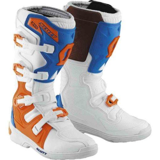Scott 350 Motocross MX White Boot Blue Boots