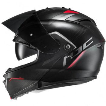 HJC IS MAX2 DOVA MC1SF Matt Black Red Grey Flip Up Helmet2