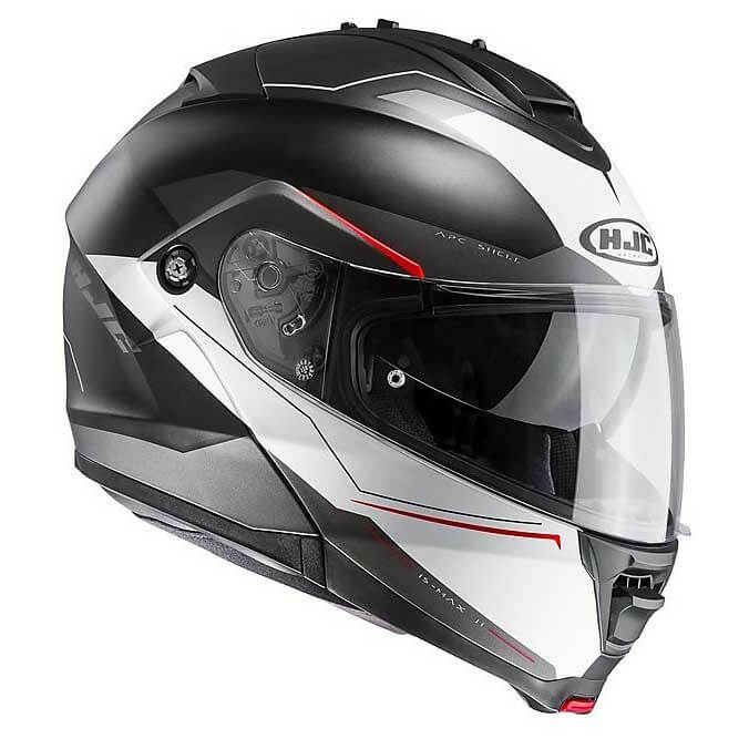HJC IS MAX2 Magma MC1SF Matt Black Red White Flip Up Helmet2