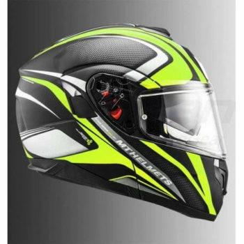 MT Atom SV Tech Sx1 Matt Black Fluorescent Yellow Flip Up Helmet