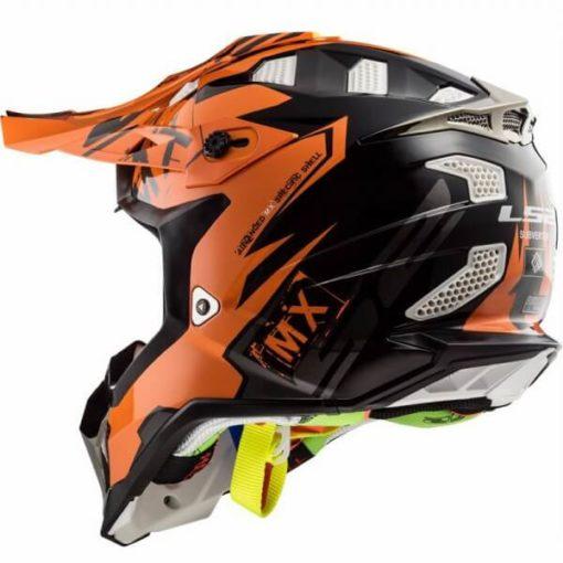 LS2 MX470 Subverter Emperor Matt Black Orange Motocross Helmet 2