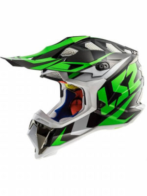 LS2 MX470 Subverter Nimble Matt Black White Green Motocross Helmet