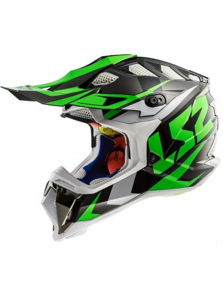 LS2 MX470 Subverter Nimble Matt Black White Green Motocross Helmet