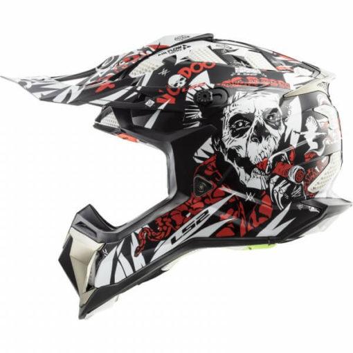 LS2 MX470 Subverter Vodoo Matt Black White Red Motocross Helmet