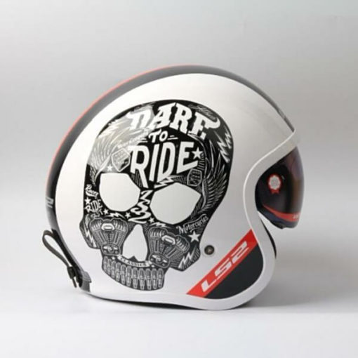 LS2 OF599 INKY MATT WHITE OPEN FACE HELMET 1