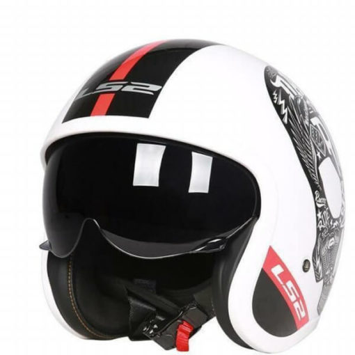 LS2 OF599 INKY MATT WHITE OPEN FACE HELMET