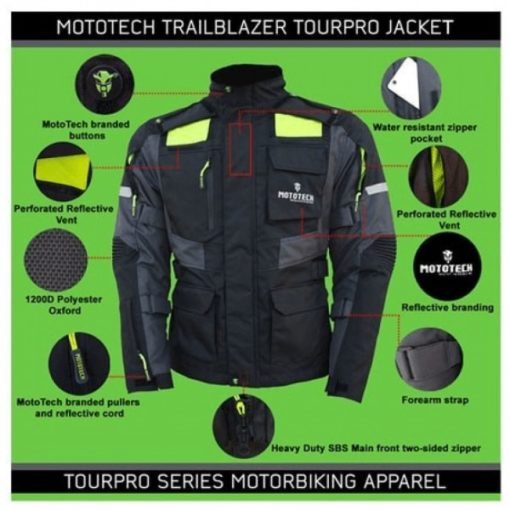 Mototech Trailblazer Tourpro Black Grey Riding Jacket 2