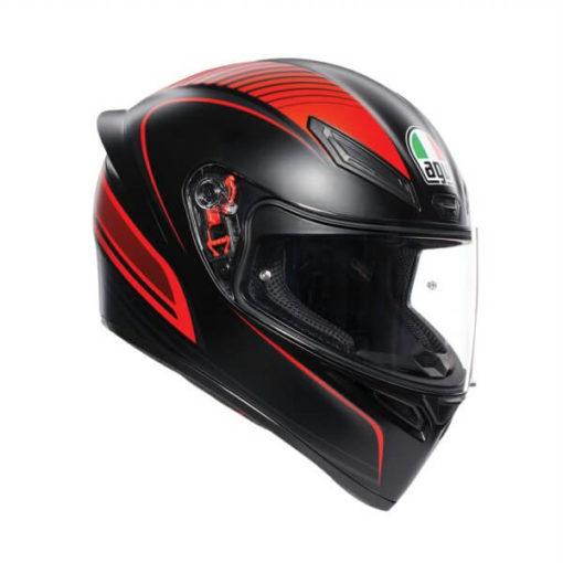 AGV K 1 Multi Warmup Matt Black Red Full Face Helmet