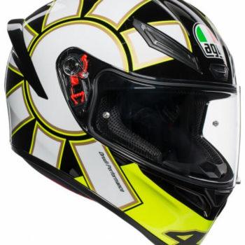AGV K 1 Top Gothic 46 Gloss Black White Yellow Full Face Helmet 1