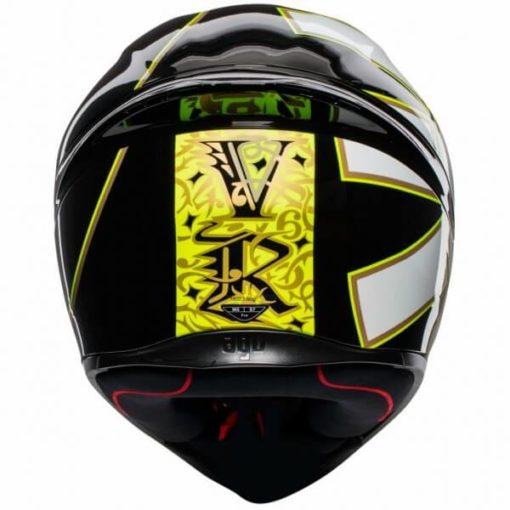 AGV K 1 Top Gothic 46 Gloss Black White Yellow Full Face Helmet 2