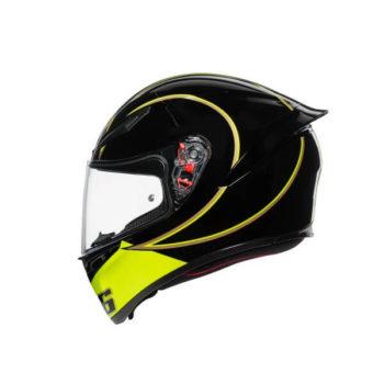 AGV K 1 Top Gothic 46 Gloss Black White Yellow Full Face Helmet 3