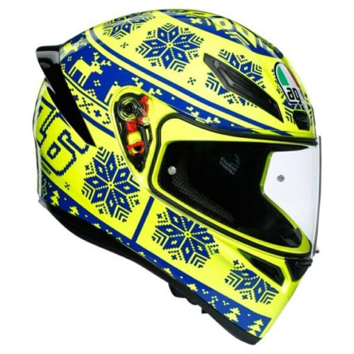 AGV K 1 Top Winter Test Gloss Fluorescent Yellow Blue Full Face Helmet
