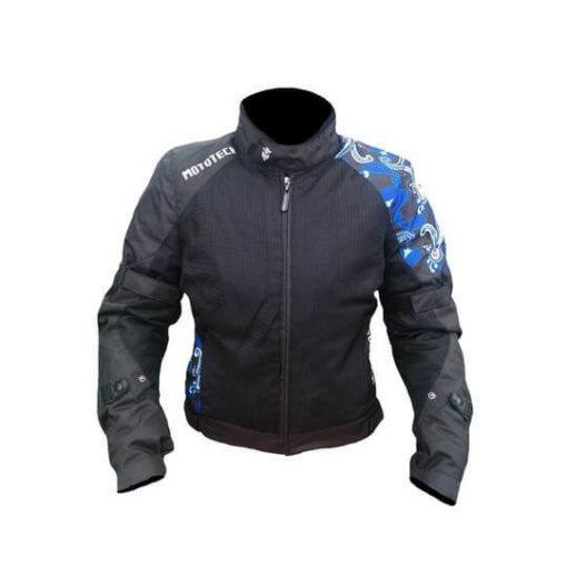 Mototech Scrambler Air Womens Black Blue Motorcycle Jacket