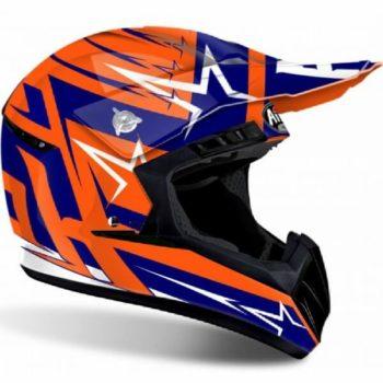 Airoh Switch Startruck Blue Orange Gloss Motocross Helmet 1
