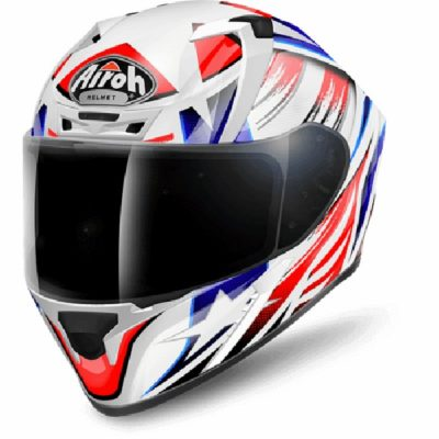 Airoh Valor Commander White Blue Red Gloss Full Face Helmet