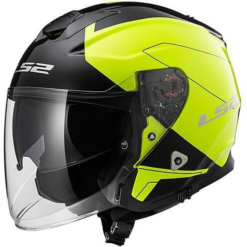 LS 2 OF521 Beyond Open Face Matt Black Fluorescent Yellow Helmets