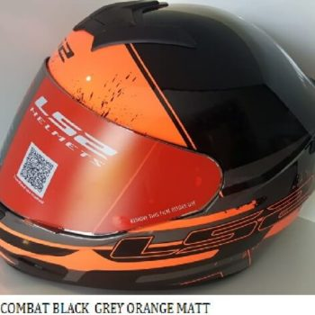 LS2 FF352 Combat Black Grey Orange Matt Full Face Helmet