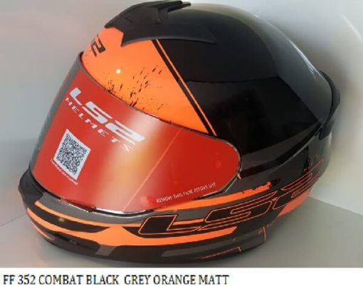 LS2 FF352 Combat Black Grey Orange Matt Full Face Helmet