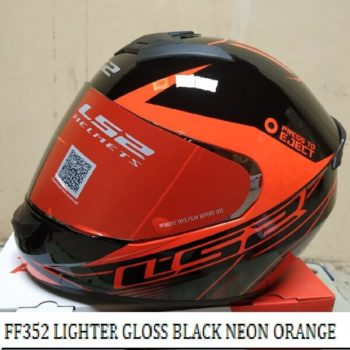 LS2 FF352 Lighter Gloss Black Fluorescent Orange Full Face Helmet