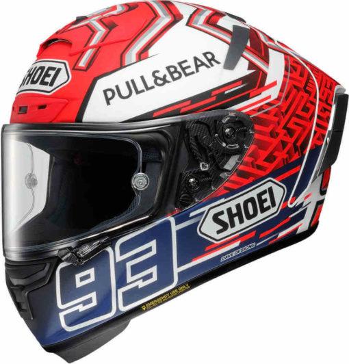 Shoei X Spirit III Marquez 5 Gloss Red White Blue Full Face Helmet