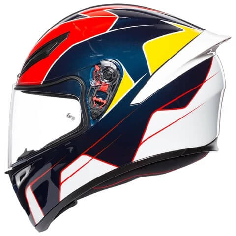 AGV K 1 Pitlane Gloss White Blue Red Yellow Full Face Helmet
