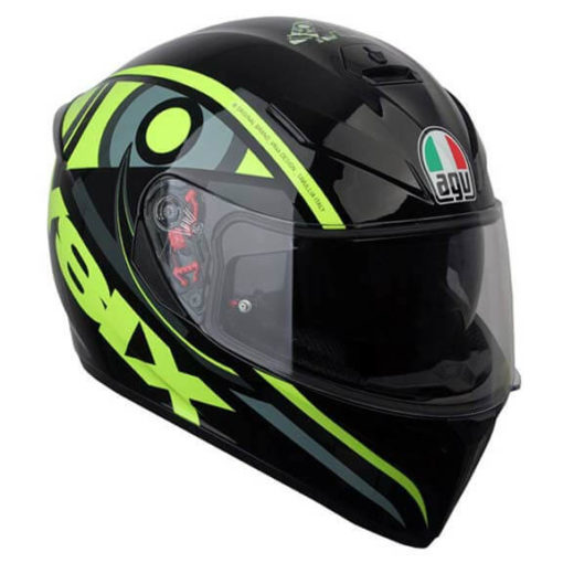 AGV K 3 Soleluna 46 Gloss Black Fluorescent Yellow Full Face Helmet 2