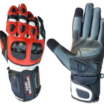 BBG Red Full Gauntlet Leather Riding Gloves