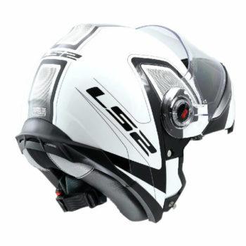 LS2 FF386 Armory Gloss Black White Flip Up Helmet 1