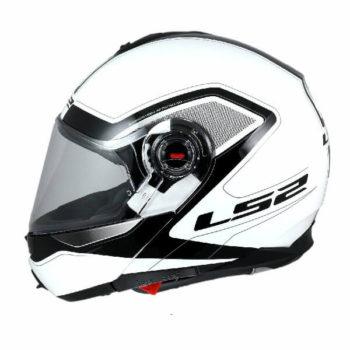 LS2 FF386 Armory Gloss Black White Flip Up Helmet