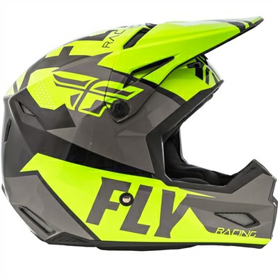 Fly Racing Elite Guild Matt Fluorescent Yellow Grey Black Motocross Helmet 2