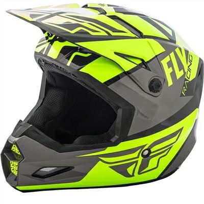 Fly Racing Elite Guild Matt Fluorescent Yellow Grey Black Motocross Helmet