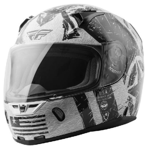 Fly Racing Liberator Gloss White Black Full Face Helmet