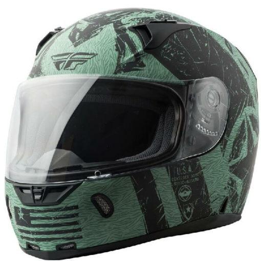 Fly Racing Liberator Matt Black Green Full Face Helmet