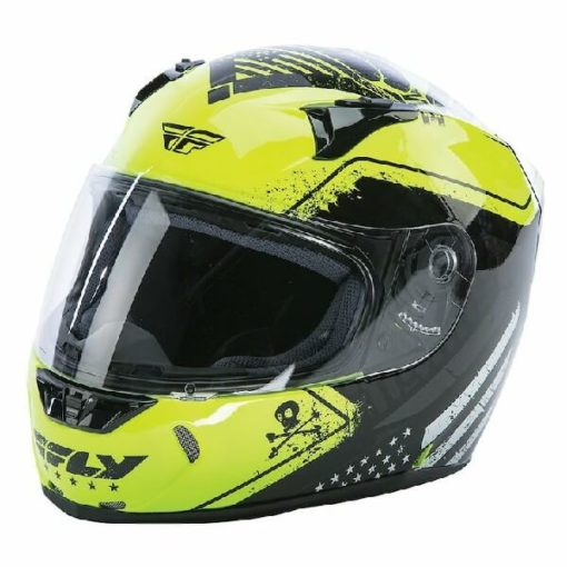 Fly Racing Revolt FS Patriot Gloss Black Hi Viz Fluorescent Yellow Full Face Helmet