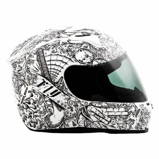 Fly Racing Revolt FS Solid Ink and Needle Gloss White Black Full Face Helmet