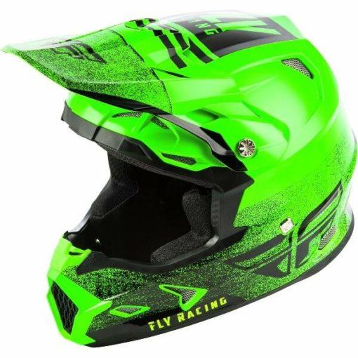 Fly Racing Toxin MIPS Embargo Gloss Green Black Motocross Helmet