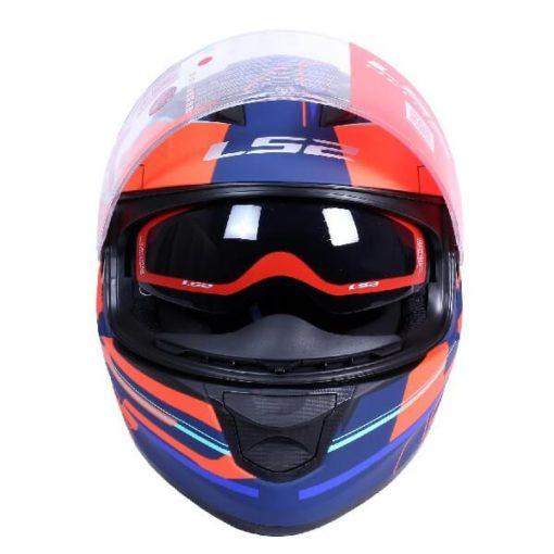 LS2 FF320 Ixel Matt Blue Fluorescent Orange Full Face Helmet 1