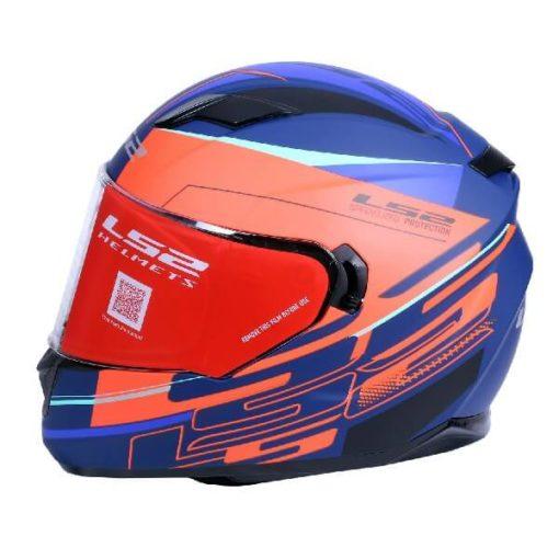 LS2 FF320 Ixel Matt Blue Fluorescent Orange Full Face Helmet