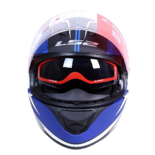 LS2 FF320 Retake Matt White Blue Full Face Helmet 1
