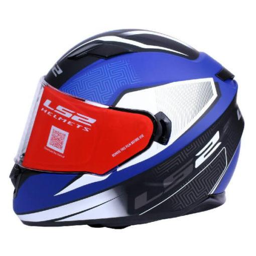 LS2 FF320 Retake Matt White Blue Full Face Helmet