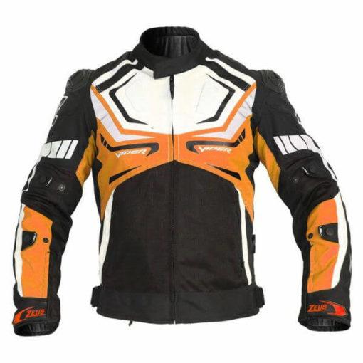 Zeus Viper White Orange Riding Jacket
