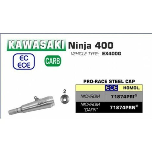 Arrow Slip On Exhaust for Ninja 400 2018 2