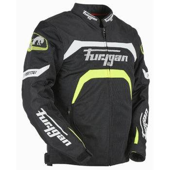 Furygan Arrow Vented Black White Fluorescent Yellow Riding Jacket