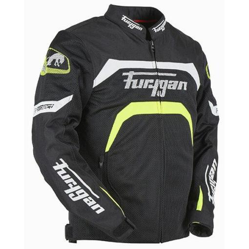Furygan Arrow Vented Black White Fluorescent Yellow Riding Jacket