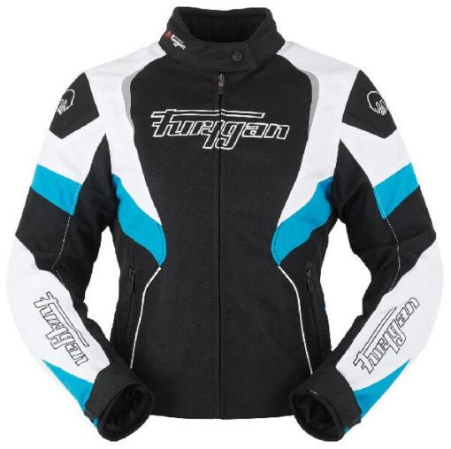 Furygan Xenia Black White Blue Riding Jacket