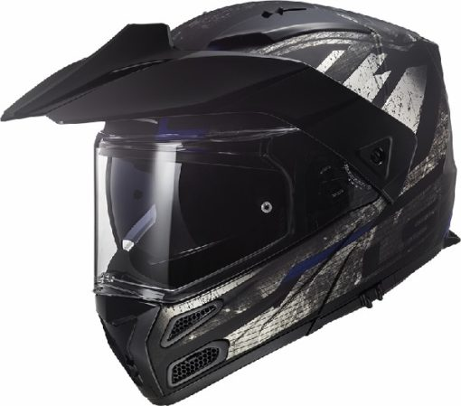 LS2 FF324 Metro Evo Buzz Matt Black Titanium Blue Flip Up Helmet
