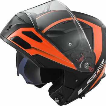 LS2 FF324 Metro Rapid Matt Black Orange With Peak Flip Up Helmet 2019 1