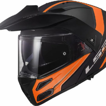 LS2 FF324 Metro Rapid Matt Black Orange With Peak Flip Up Helmet 2019
